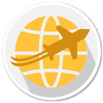 Plane and globe shipping reach icon