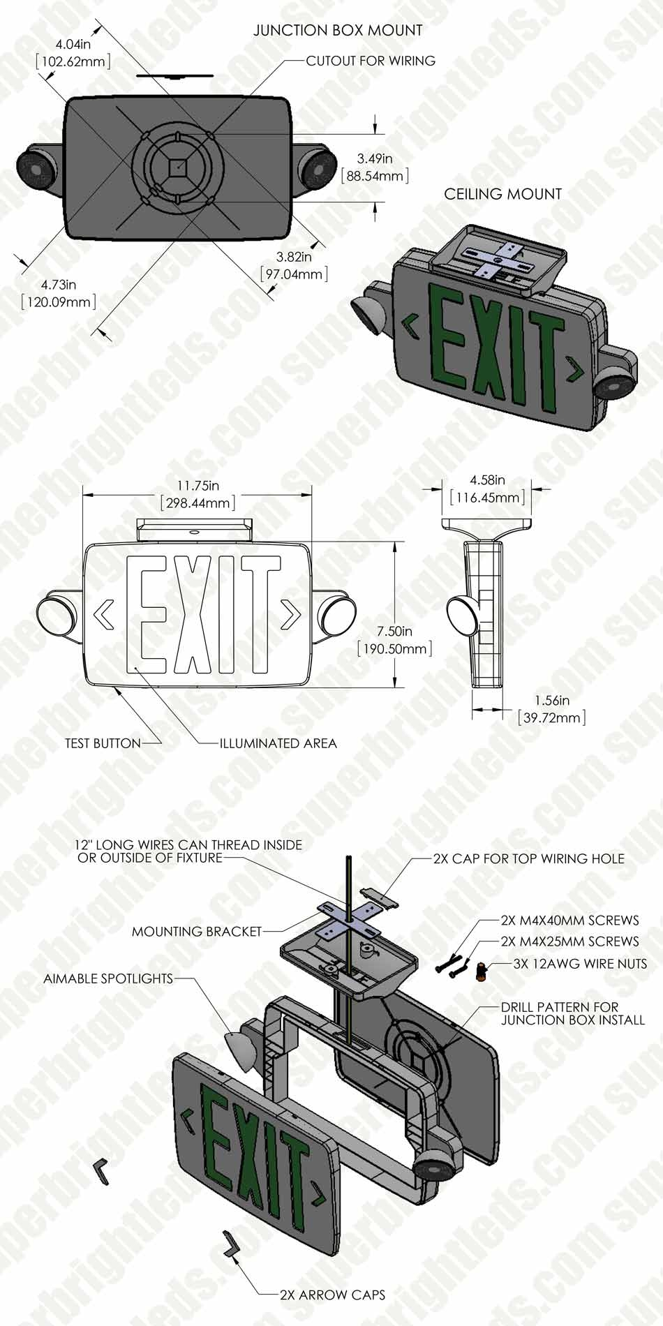 LED Exit Sign/Emergency Light Combo w/ Battery Backup - Single or Double Face - Adjustable Light Heads