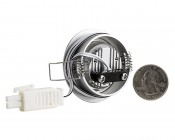 1 Watt LED Downlight Kit - 6 Piece: Back View With Size Comparison