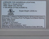 100 Watt Hazardous Location Class 1 Division 2 LED Light: Close Up View of Label
