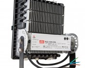 100 Watt High Power LED Flood Light Fixture: Back View Showing Attached Power Supply