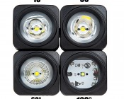 "10W Mini-Aux, 2"" Modular LED Off-Road Work Light: Front View Of 10, 30, 60, And 120 Degree Lenses"