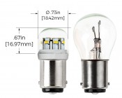 1142 LED Bulb w/ Stock Cover - 12 SMD LED - BA15D Retrofit: Profile View with Measurements