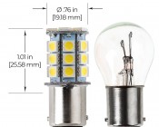 1142 LED Bulb - 27 SMD LED Tower - BA15D Retrofit: Profile View