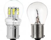 1156 LED Bulb w/ Stock Cover - 36 SMD LED Tower - BA15S Retrofit: Profile Comparison View