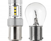 1156 LED Bulb w/ Focusing Lens - 15 SMD LED Tower - BA15S Retrofit: Profile View