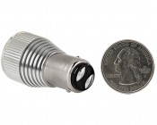 1157 LED Bulb w/ Removable Lens - Dual Function 3 High Power LED - BAY15D Retrofit: Back View