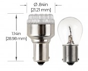1156 LED Bulb - 19 LED Forward Firing Cluster - 6 VDC: Profile View