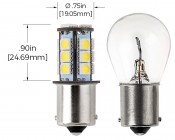 1156 LED Bulb - 18 SMD LED Tower - BA15S Retrofit: Profile View and Measurements