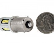 1156 CAN Bus LED Bulb - 30 SMD LED Tower - BA15S Retrofit: Back View with Size Comparison