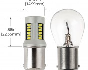 1156 CAN Bus LED Bulb - 30 SMD LED Tower - BA15S Retrofit: Profile View with Size Comparison to Stock Incandescent Bulb and Dimensions
