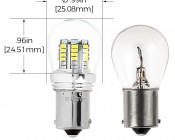 1156 LED Bulb w/ Stock Cover - 36 SMD LED Tower - BA15S Retrofit: Profile View and Measurements