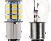 1157 LED Bulb - Dual Function 27 SMD LED Tower - BAY15D Retrofit: Profile View.