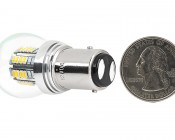 1157 LED Bulb - Dual Intensity 36 High Power LEDs: Back View With Size Comparison