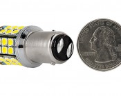 1157 LED Bulb - Dual Function 45 SMD LED Tower - BAY15D Retrofit: Back View