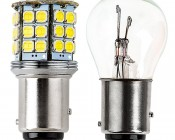 1157 LED Bulb - Dual Function 45 SMD LED Tower - BAY15D Retrofit: Profile View