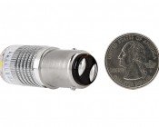 1157 LED Bulb w/ Reflector Lens - Dual Function 1 High Power LED - BAY15D Retrofit: Back View