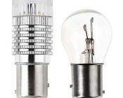 1157 LED Bulb w/ Reflector Lens - Dual Function 1 High Power LED - BAY15D Retrofit: Profile View