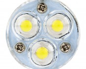 1157 LED Bulb w/ Removable Lens - Dual Function 3 High Power LED - BAY15D Retrofit: Front View