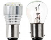 1157 LED Bulb w/ Removable Lens - Dual Function 3 High Power LED - BAY15D Retrofit: Profile Comparison View