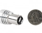 1157 LED Bulb w/ Focusing Lens - Dual Function 3 High Power LED - BAY15D Retrofit: Back View