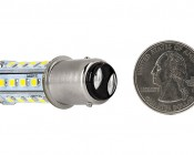 1157 LED Bulb - Dual Function 28 SMD LED Tower - BAY15D Retrofit: Back View