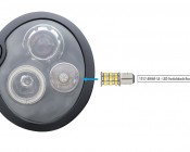 1157 Switchback LED Bulb - Dual Intensity 60 SMD LED Tower, B Type: Shown Installed In Headlight Housing.