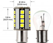1157 CAN Bus LED Bulb - Dual Function 26 SMD LED Tower - BAY15D Retrofit: Profile View