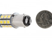 1157 LED Bulb - Dual Function 27 SMD LED Tower - BAY15D Retrofit: Back View with Size Comparison