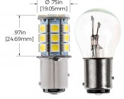 1157 LED Bulb - Dual Function 27 SMD LED Tower - BAY15D Retrofit: Profile View and Measurements
