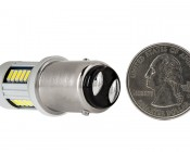 1157 CAN Bus LED Bulb - Dual Function 30 SMD LED Tower - BAY15D Retrofit: Back View with Size Comparison