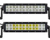 "12"" Off Road LED Light Bar - 36W: Showing Front View Of Light Bar In Flood Beam Pattern (Top) And Combo Beam Pattern (Bottom)."