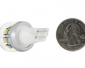 194 LED Bulb - 12 SMD LED Wedge Base Tower: Back View With Size Comparison