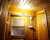 T14 LED Filament Bulb - 35 Watt Equivalent Vintage Light Bulb - Radio Style - 12V AC/DC: Installed in Fixture in Cabin: Installed in Off-Grid Cabin Front Entrance Fixture