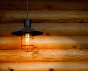 T14 LED Filament Bulb - 35 Watt Equivalent Vintage Light Bulb - Radio Style - 12V AC/DC: Installed in Fixture in Off-Grid Cabin