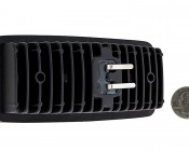 12W Heavy Duty High Powered Tractor LED Work Light - RE306510 Sealed Beam Replacement: Back View with Size Comparison
