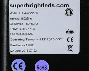 150 Watt High Power LED Flood Light Fixture: Close Up View Of Label