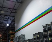 150 Watt High Power LED High Bay Light Fixture: Shown Installed On Warehouse Ceiling (Closest Light In Photo)
