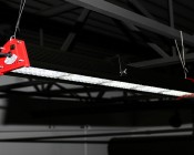 Suspension Cables for 150W Linear High Bay LED Light: Shown Hanging Linear High Bay Light From Warehouse Ceiling.