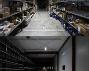 150W High Output Linear LED Light Fixture - Industrial LED Light w/ Mounting Brackets - 4' Long: Showing 130°/40° Light Bar (Top) Compared To 90°/60° Light Bar (Bottom). Lights Approximately 20' From Floor. Distances Are Approximate.