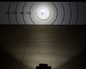 """15"""" Heavy Duty Off Road LED Light - 90W: On Showing Beam Pattern On Target From 50 Feet"""