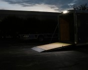 """16"""" RV Awning Lights: Shown Installed Over Trailer Door In Natural White."""