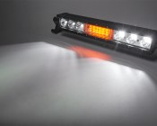 """18"""" Off Road LED Light Bar with Integrated Amber LED Strobe Light Head: On Showing Beam Pattern."""