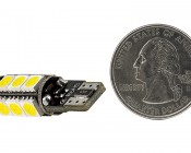 921 CAN Bus LED Bulb - 13 SMD LED Tower - Miniature Wedge Retrofit: Back View With Size Comparison