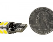 921 CAN Bus LED Bulb - 9 SMD LED Wedge Base Tower: Back View With Size Comparison