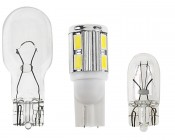 921 LED Bulb - 10 SMD LED Tower - Miniature Wedge Retrofit: Profile View With Size Comparison To 194 & 921 Stock Bulbs