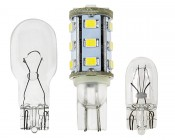 921 LED Bulb - 19 SMD LED - Miniature Wedge Retrofit: Profile View With Stock Bulb Size Comparison