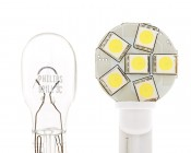194 LED Bulb with Incandescent Bulb for Comparison