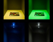 194 LED Bulb - 6 LED Wedge Base: On Showing Beam Pattern And Yellow, Green, Blue, And White Colors.