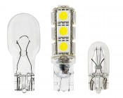194 LED Bulb - 13 SMD LED Wedge Base Tower: Profile View With Size Comparison To 194 & 921 Stock Bulbs